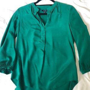 Madewell green silk blouse